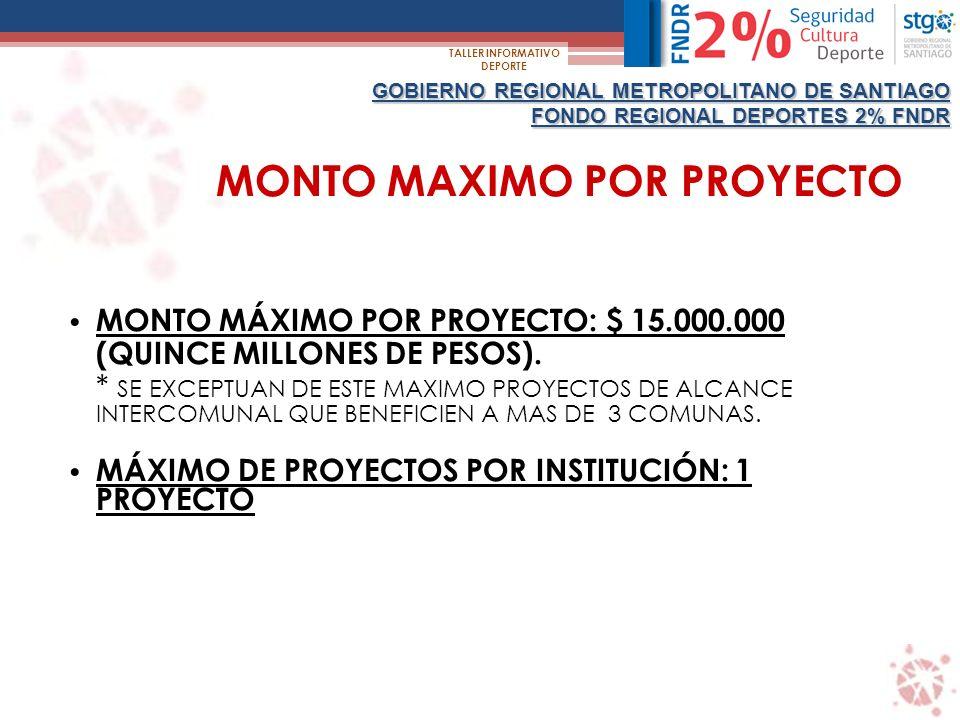 GOBIERNO REGIONAL METROPOLITANO DE SANTIAGO FONDO REGIONAL DEPORTES 2% FNDR TALLER INFORMATIVO DEPORTE QUIENES PUEDEN POSTULAR.