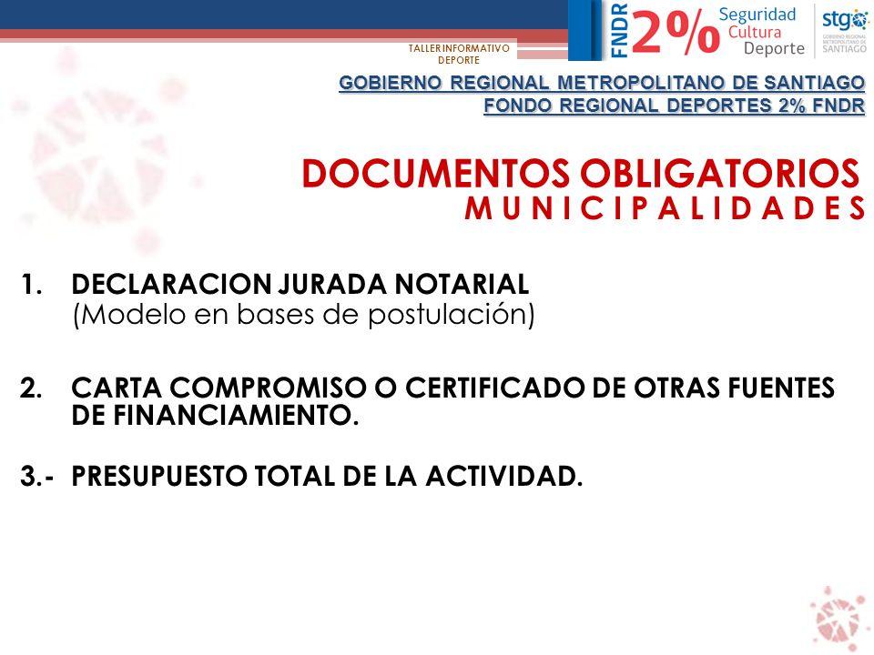 GOBIERNO REGIONAL METROPOLITANO DE SANTIAGO FONDO REGIONAL DEPORTES 2% FNDR TALLER INFORMATIVO DEPORTE INSTITUCIONES SIN FINES DE LUCRO 1.ANTECEDENTES LEGALES QUE ACREDITEN CONSTITUCION, REPRESENTANTE LEGAL, DIRECTORIO Y ESTATUTOS, SEGÚN CORRESPONDA 2.CERTIFICADO DE VIGENCIA DE LA INSTITUCION Y DE SU DIRECTORIO.