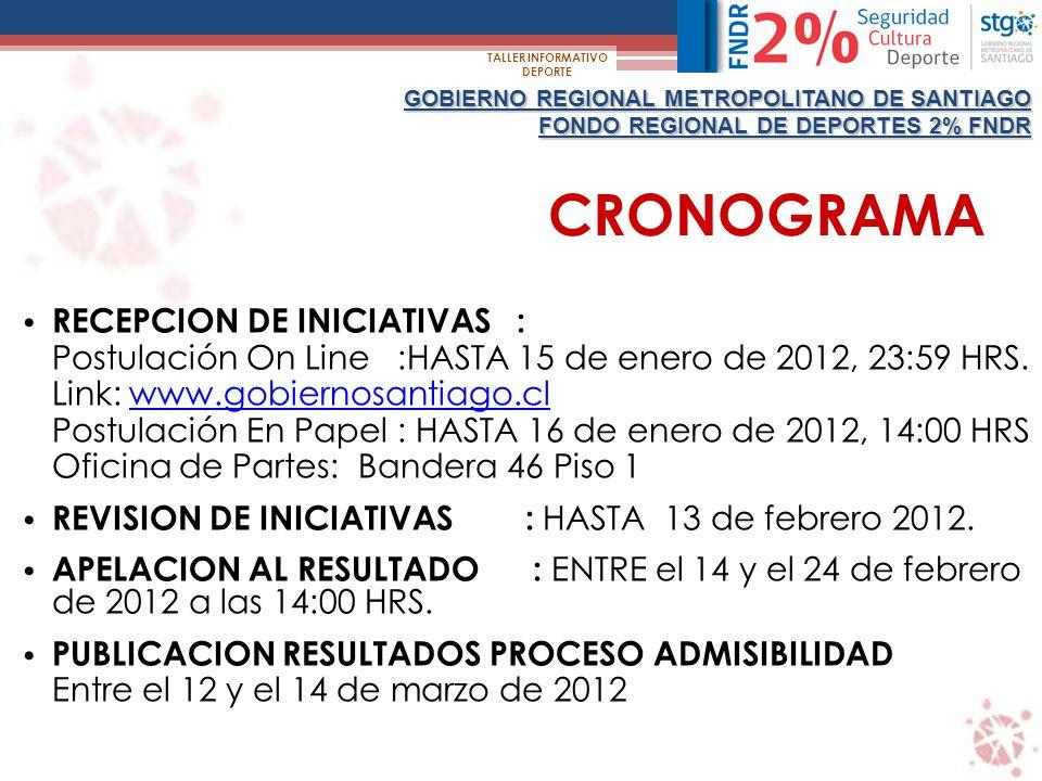 CRONOGRAMA GOBIERNO REGIONAL METROPOLITANO DE SANTIAGO FONDO REGIONAL DE DEPORTES 2% FNDR TALLER INFORMATIVO DEPORTE RECEPCION DE INICIATIVAS : Postulación On Line :HASTA 15 de enero de 2012, 23:59 HRS.