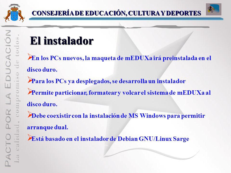 La Maqueta La Maqueta Sistema Debian GNU/Linux (Sarge) KDE 3.4.1 Amplia selección de software educativo Pre-instalado y pre-configurado Validación con