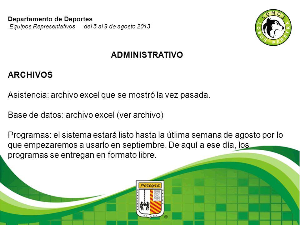 Departamento de Deportes Equipos Representativos del 5 al 9 de agosto 2013 ADMINISTRATIVO ARCHIVOS Asistencia: archivo excel que se mostró la vez pasa