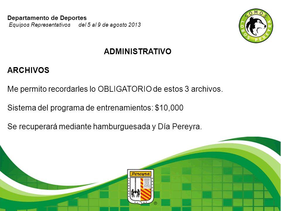 Departamento de Deportes Equipos Representativos del 5 al 9 de agosto 2013 ADMINISTRATIVO ARCHIVOS Me permito recordarles lo OBLIGATORIO de estos 3 ar