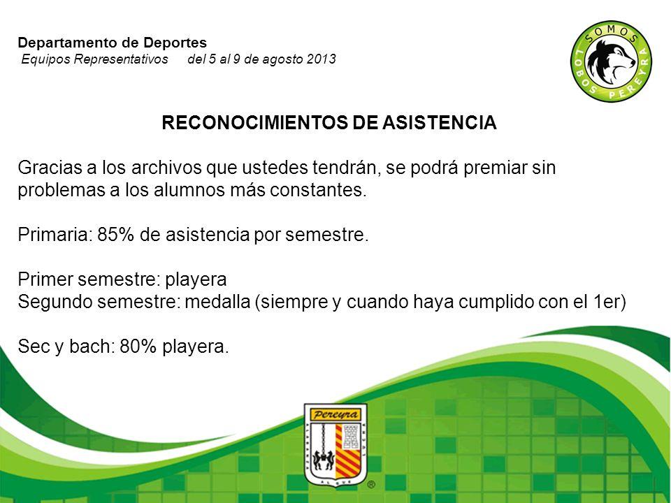 Departamento de Deportes Equipos Representativos del 5 al 9 de agosto 2013 RECONOCIMIENTOS DE ASISTENCIA Gracias a los archivos que ustedes tendrán, s