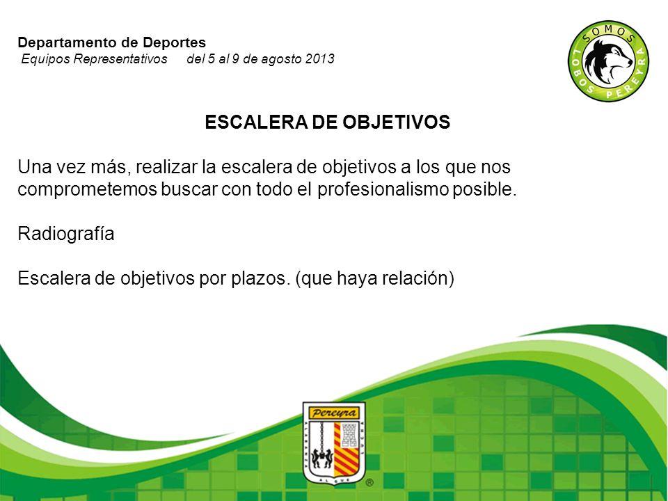 Departamento de Deportes Equipos Representativos del 5 al 9 de agosto 2013 ESCALERA DE OBJETIVOS Una vez más, realizar la escalera de objetivos a los