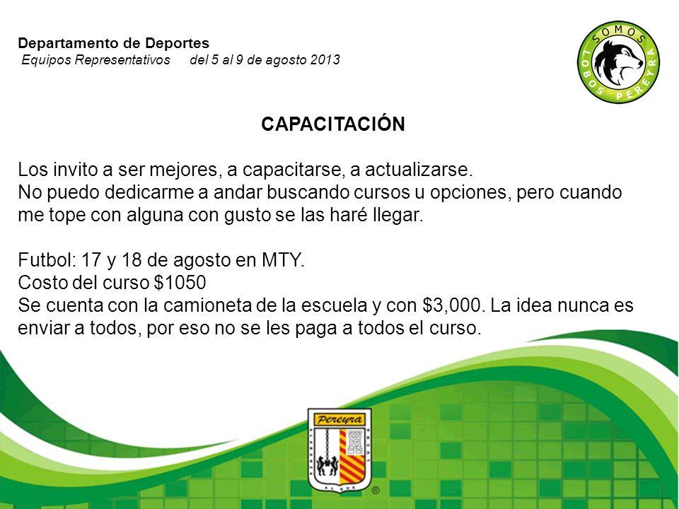 Departamento de Deportes Equipos Representativos del 5 al 9 de agosto 2013 CAPACITACIÓN Los invito a ser mejores, a capacitarse, a actualizarse. No pu