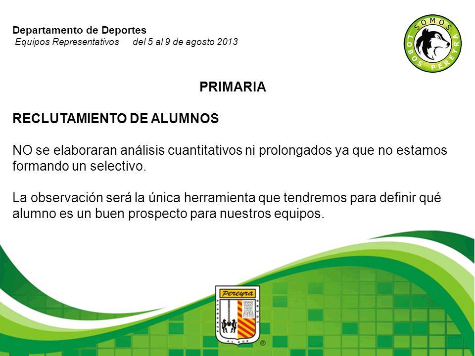 Departamento de Deportes Equipos Representativos del 5 al 9 de agosto 2013 PRIMARIA RECLUTAMIENTO DE ALUMNOS NO se elaboraran análisis cuantitativos n