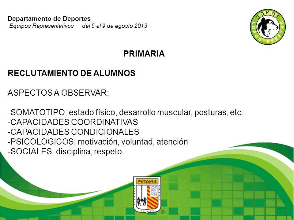 Departamento de Deportes Equipos Representativos del 5 al 9 de agosto 2013 PRIMARIA RECLUTAMIENTO DE ALUMNOS ASPECTOS A OBSERVAR: -SOMATOTIPO: estado