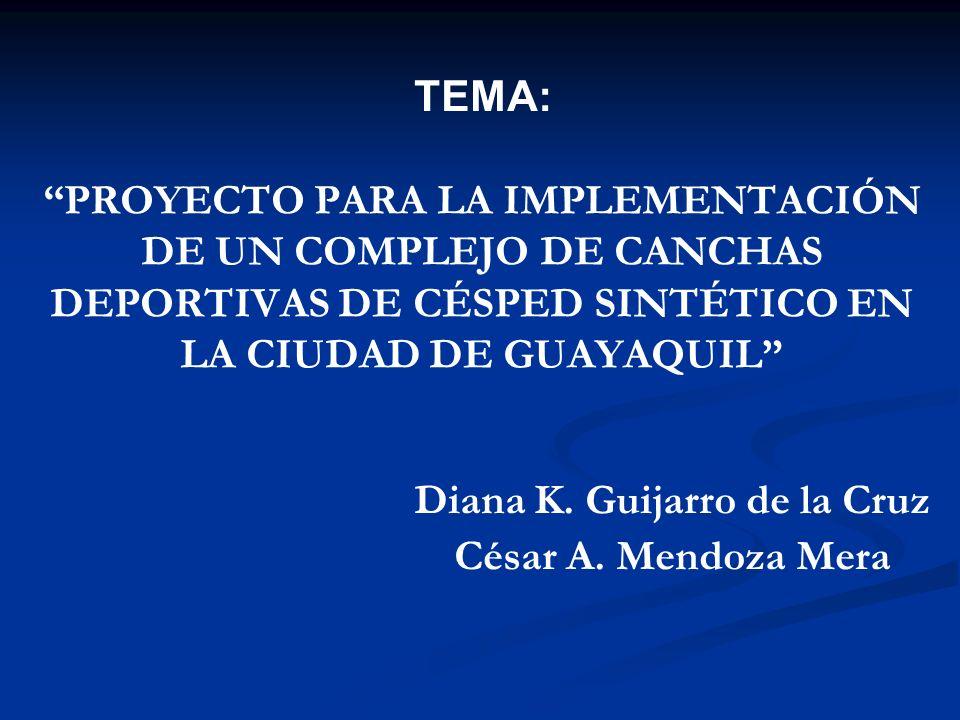 PROYECTO PARA LA IMPLEMENTACIÓN DE UN COMPLEJO DE CANCHAS DEPORTIVAS DE CÉSPED SINTÉTICO EN LA CIUDAD DE GUAYAQUIL Diana K. Guijarro de la Cruz César