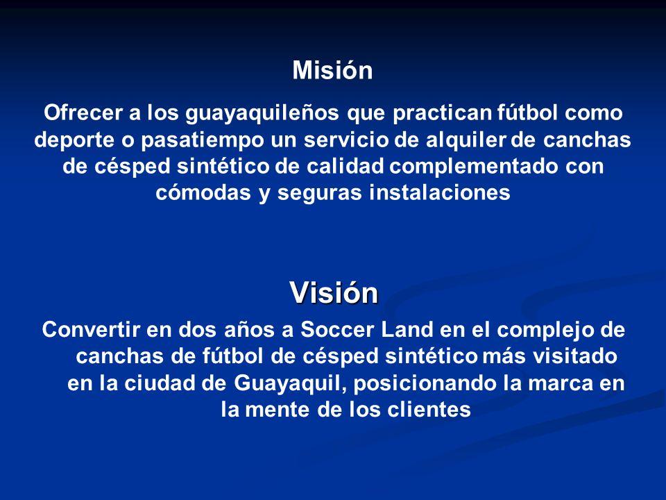 Visión Convertir en dos años a Soccer Land en el complejo de canchas de fútbol de césped sintético más visitado en la ciudad de Guayaquil, posicionand