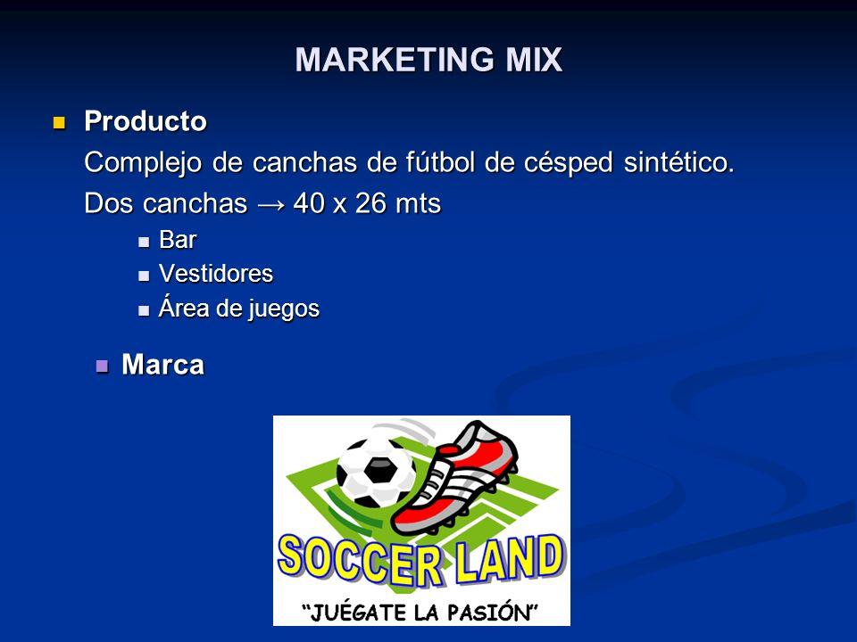 MARKETING MIX Producto Producto Complejo de canchas de fútbol de césped sintético. Dos canchas 40 x 26 mts Bar Bar Vestidores Vestidores Área de juego