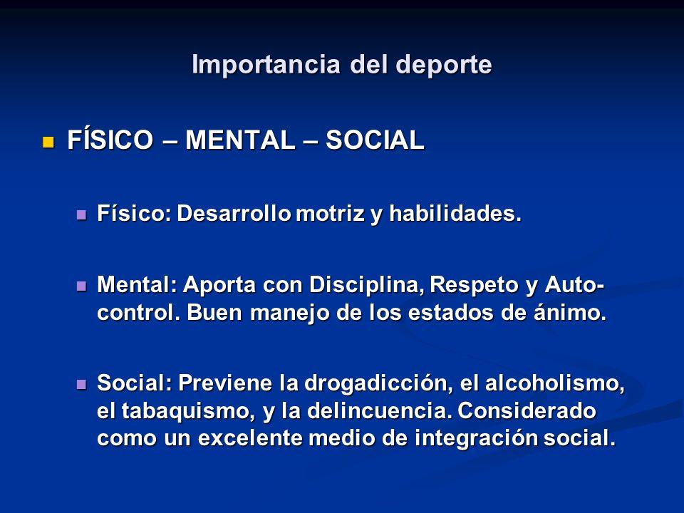 Importancia del deporte FÍSICO – MENTAL – SOCIAL FÍSICO – MENTAL – SOCIAL Físico: Desarrollo motriz y habilidades.