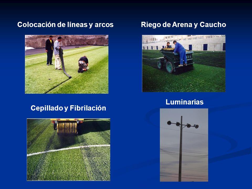 Cepillado y Fibrilación Colocación de líneas y arcosRiego de Arena y Caucho Luminarias