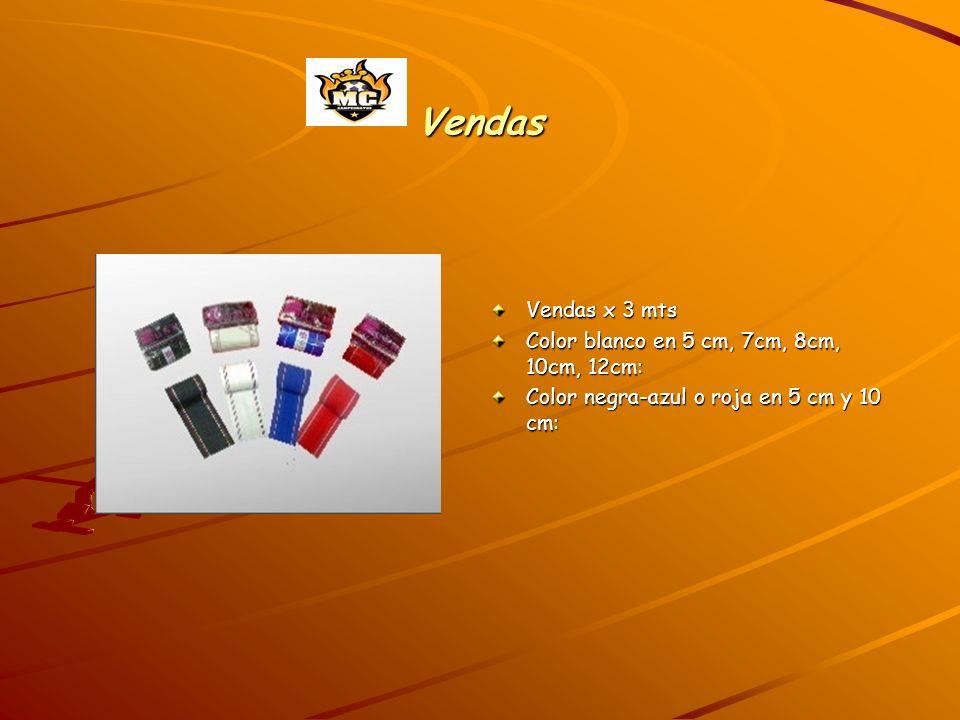 Vendas Vendas x 3 mts Color blanco en 5 cm, 7cm, 8cm, 10cm, 12cm: Color negra-azul o roja en 5 cm y 10 cm: