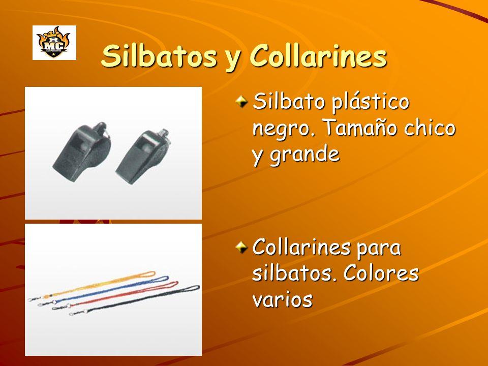 Silbatos y Collarines Silbato plástico negro. Tamaño chico y grande Collarines para silbatos. Colores varios