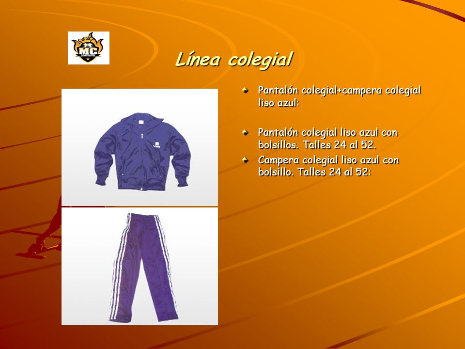 Línea colegial Pantalón colegial+campera colegial liso azul: Pantalón colegial liso azul con bolsillos. Talles 24 al 52. Campera colegial liso azul co