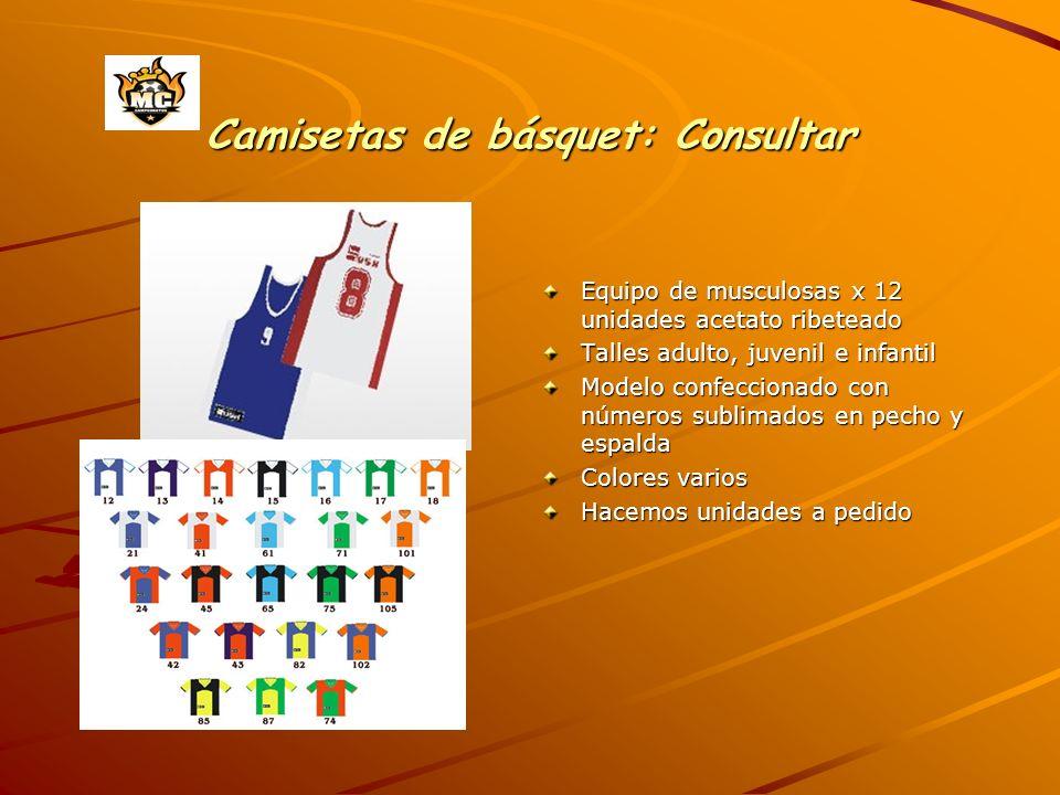 Camisetas de básquet: Consultar Equipo de musculosas x 12 unidades acetato ribeteado Talles adulto, juvenil e infantil Modelo confeccionado con número