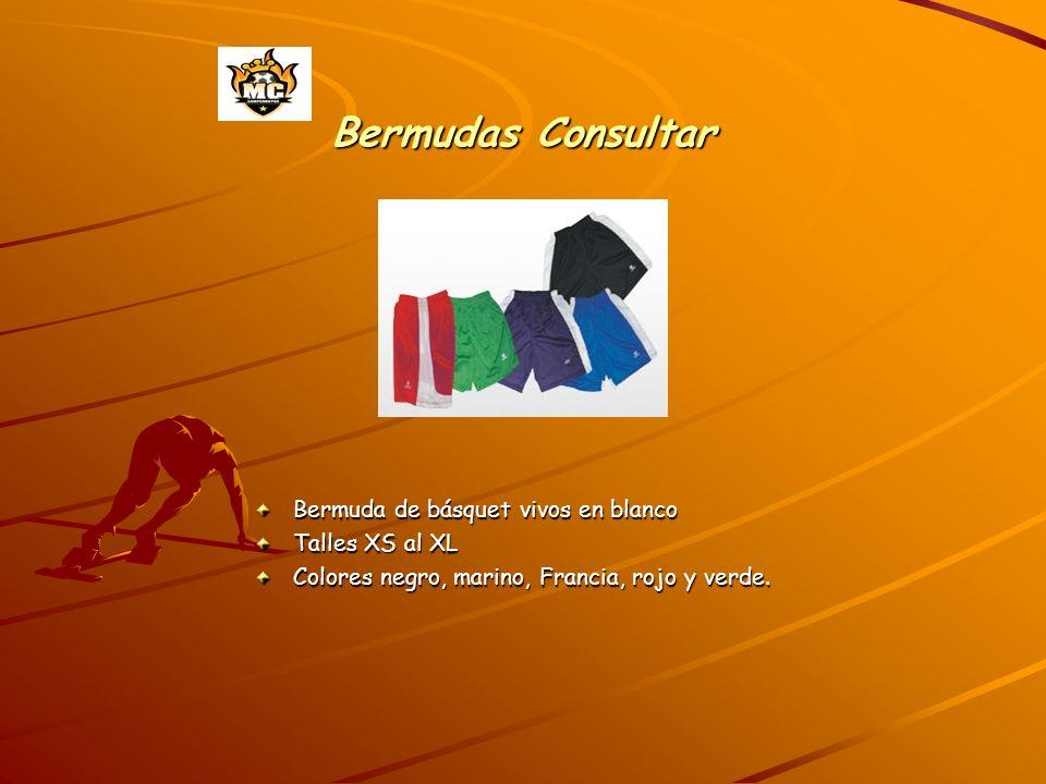 Bermudas Consultar Bermuda de básquet vivos en blanco Talles XS al XL Colores negro, marino, Francia, rojo y verde.