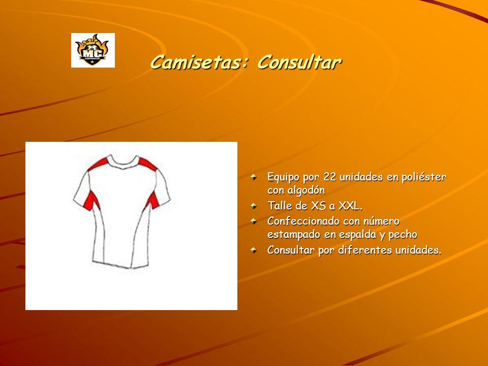 Camisetas: Consultar Equipo por 22 unidades en poliéster con algodón Talle de XS a XXL. Confeccionado con número estampado en espalda y pecho Consulta