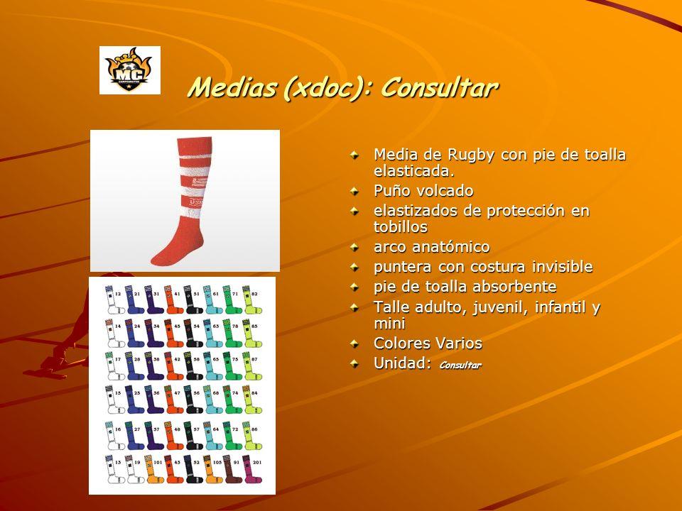 Medias (xdoc): Consultar Media de Rugby con pie de toalla elasticada.