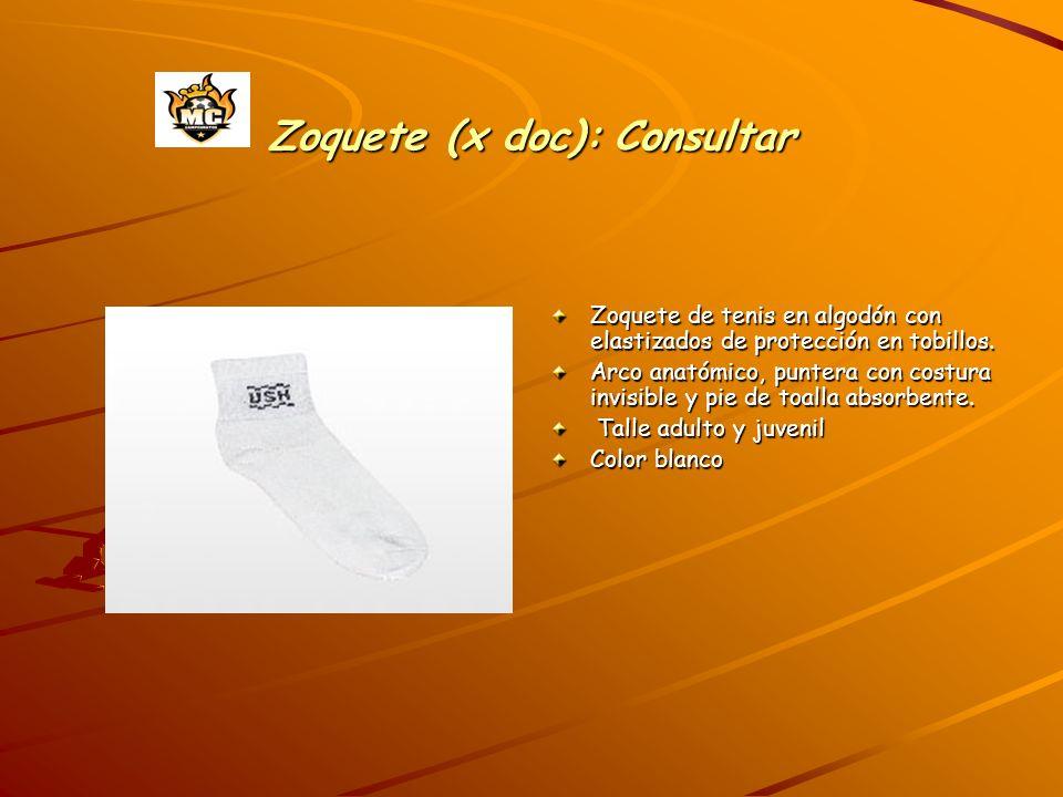 Zoquete (x doc): Consultar Zoquete de tenis en algodón con elastizados de protección en tobillos. Arco anatómico, puntera con costura invisible y pie