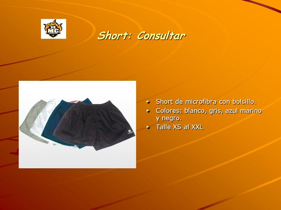 Short: Consultar Short de microfibra con bolsillo. Colores: blanco, gris, azul marino y negro. Talle XS al XXL
