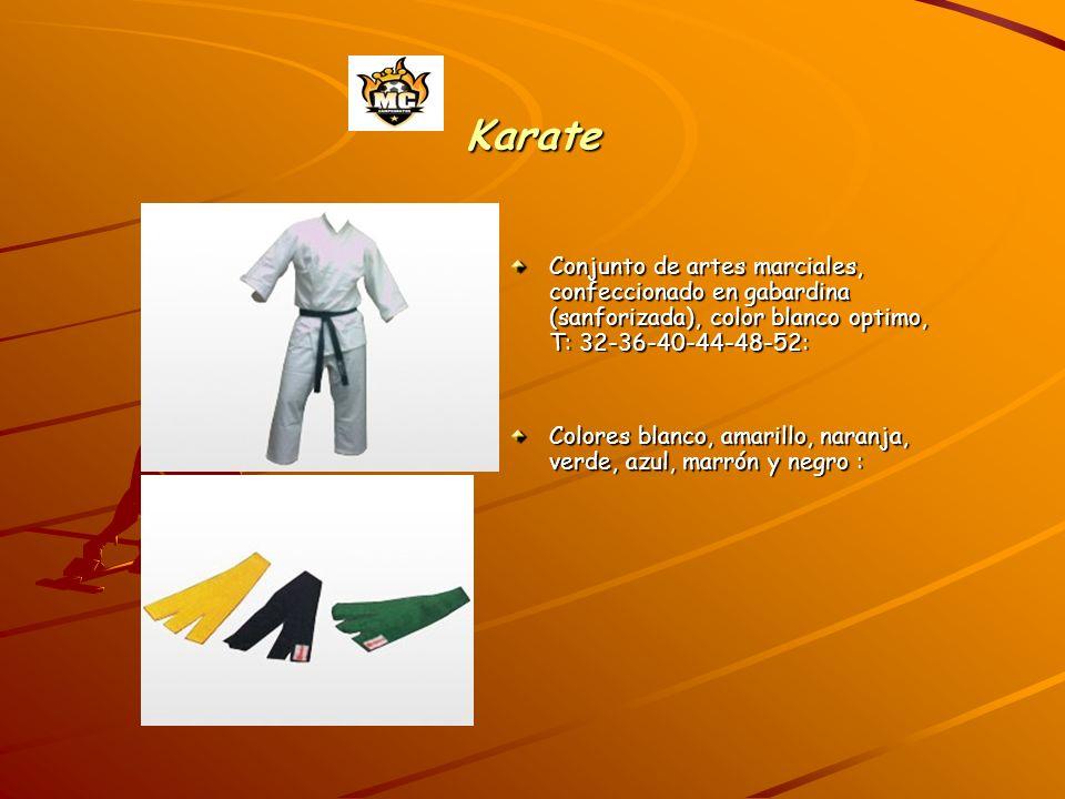 Karate Conjunto de artes marciales, confeccionado en gabardina (sanforizada), color blanco optimo, T: 32-36-40-44-48-52: Colores blanco, amarillo, naranja, verde, azul, marrón y negro :