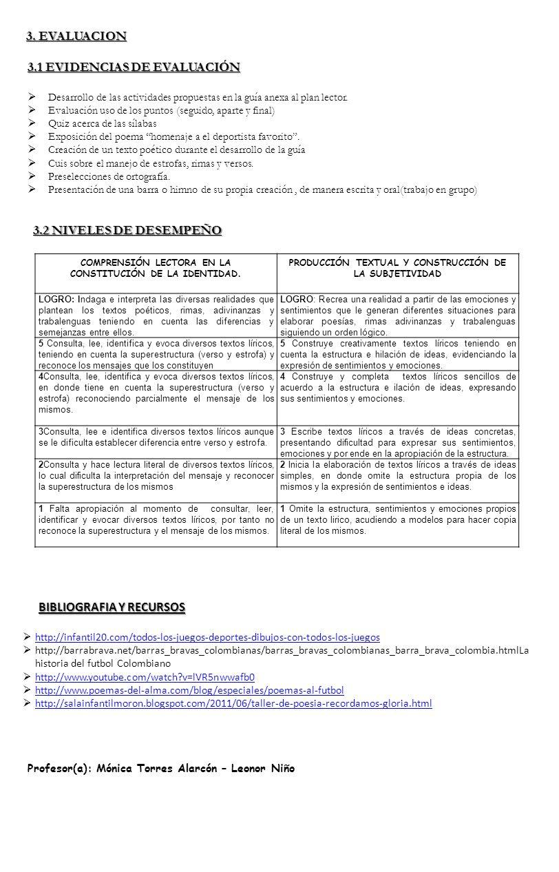3. EVALUACION 3.1 EVIDENCIAS DE EVALUACIÓN Desarrollo de las actividades propuestas en la guía anexa al plan lector. Evaluación uso de los puntos (seg