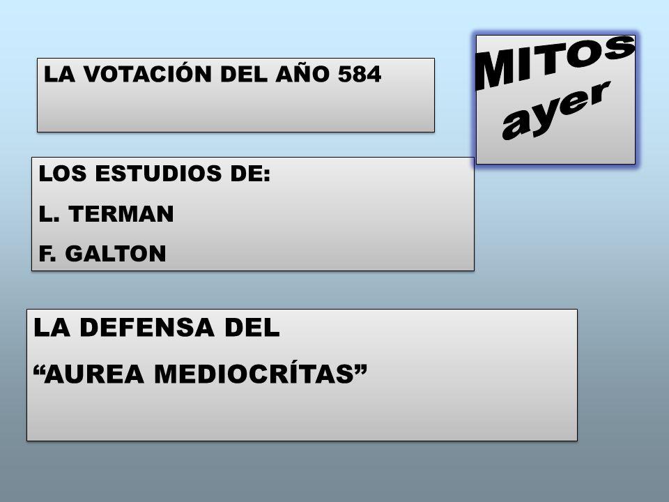 LA VOTACIÓN DEL AÑO 584 LOS ESTUDIOS DE: L. TERMAN F. GALTON LOS ESTUDIOS DE: L. TERMAN F. GALTON LA DEFENSA DEL AUREA MEDIOCRÍTAS LA DEFENSA DEL AURE