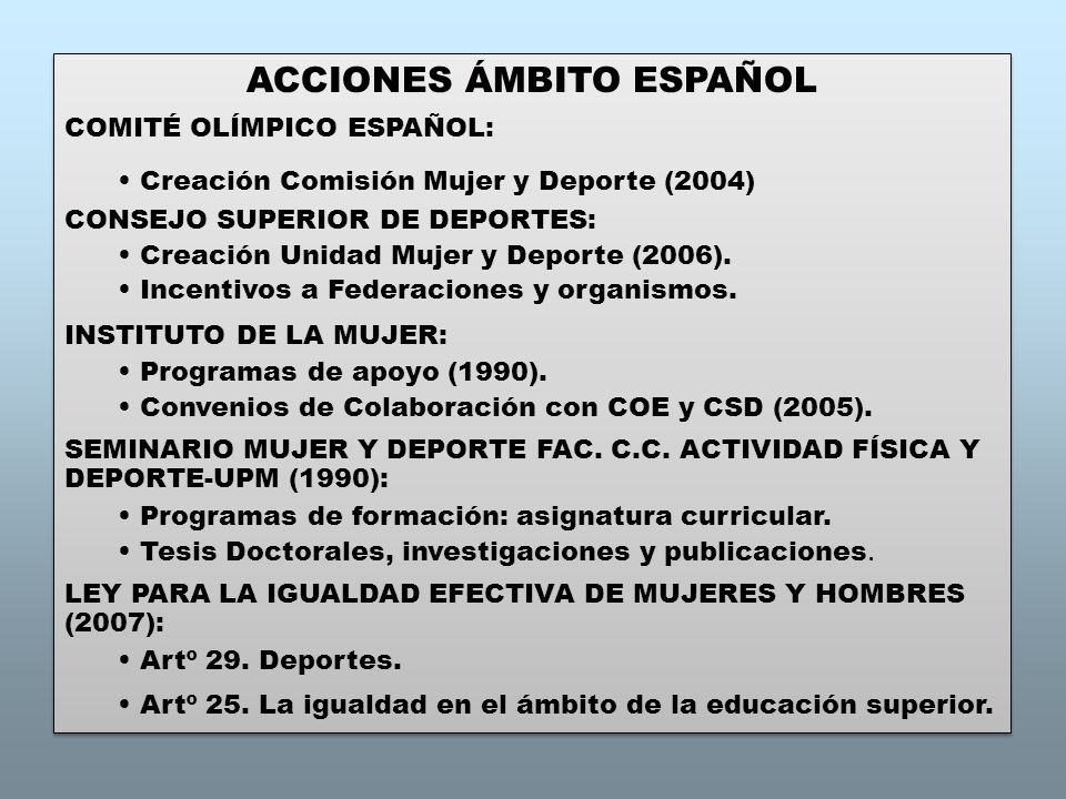 ACCIONES ÁMBITO ESPAÑOL COMITÉ OLÍMPICO ESPAÑOL: Creación Comisión Mujer y Deporte (2004) CONSEJO SUPERIOR DE DEPORTES: Creación Unidad Mujer y Deporte (2006).