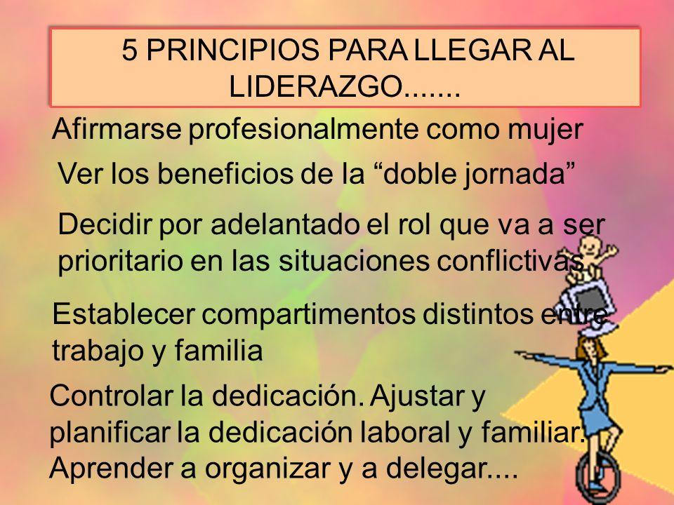 5 PRINCIPIOS PARA LLEGAR AL LIDERAZGO....... Afirmarse profesionalmente como mujer Ver los beneficios de la doble jornada Decidir por adelantado el ro