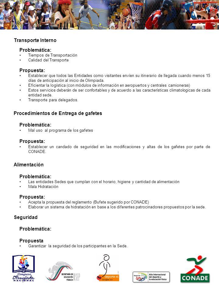 Junta Informativa para reuniones de Delegados Problemática: Propuesta: Establecer reuniones diarias al término de la jornada con los delegados generales y auxiliares durante la Olimpiada Nacional.
