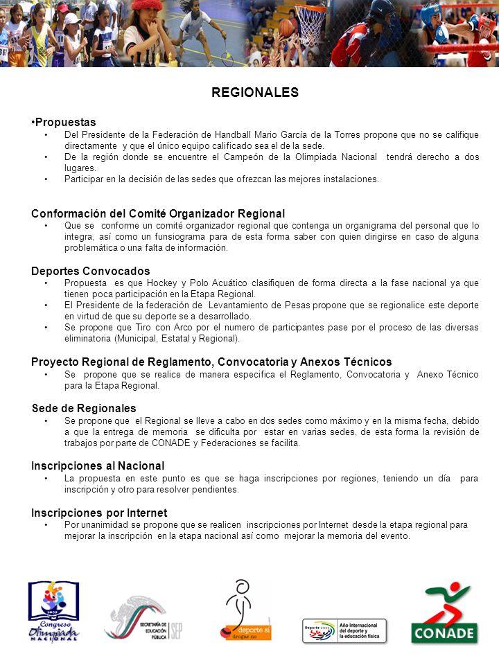 REGIONALES Propuestas Del Presidente de la Federación de Handball Mario García de la Torres propone que no se califique directamente y que el único equipo calificado sea el de la sede.