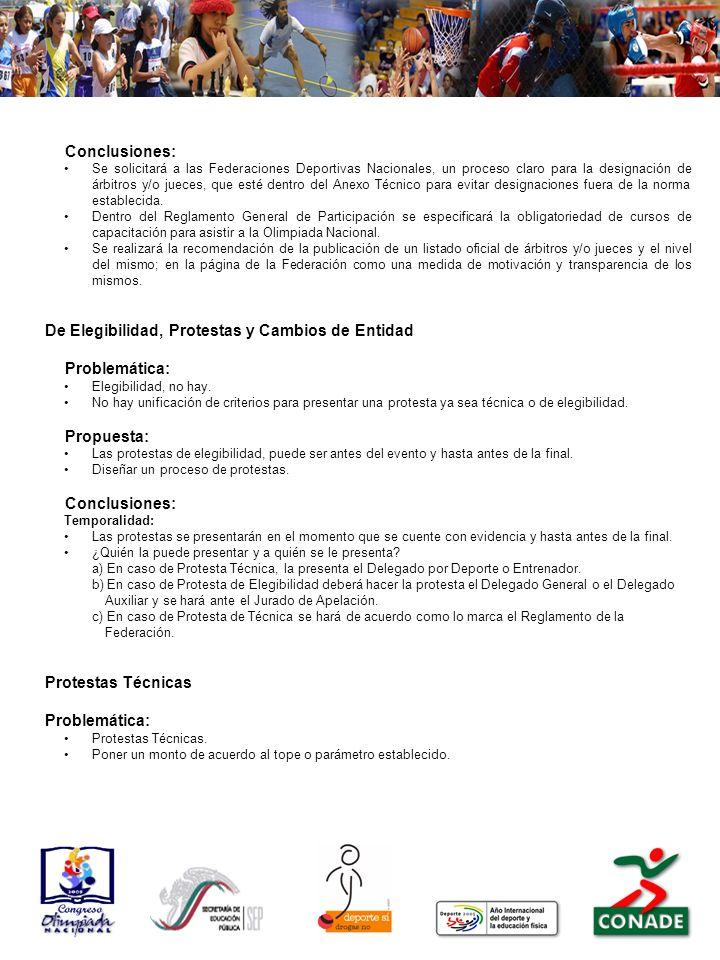 Conclusiones: Se solicitará a las Federaciones Deportivas Nacionales, un proceso claro para la designación de árbitros y/o jueces, que esté dentro del Anexo Técnico para evitar designaciones fuera de la norma establecida.