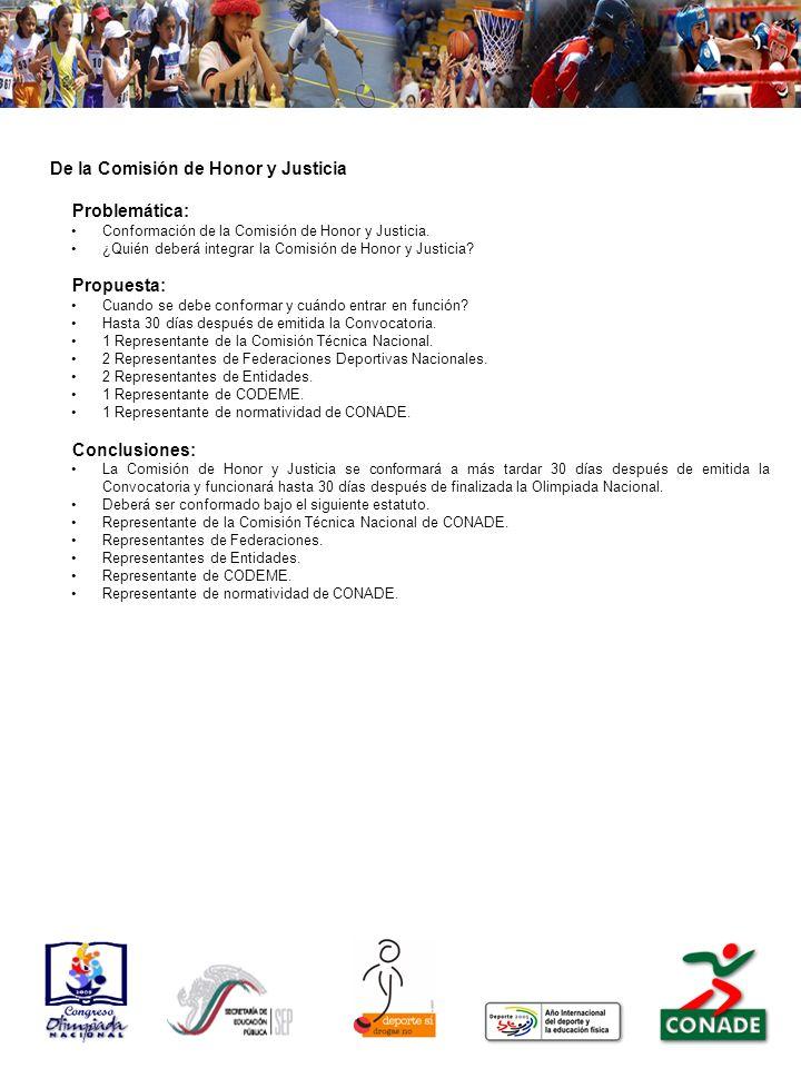 De la Comisión de Honor y Justicia Problemática: Conformación de la Comisión de Honor y Justicia.