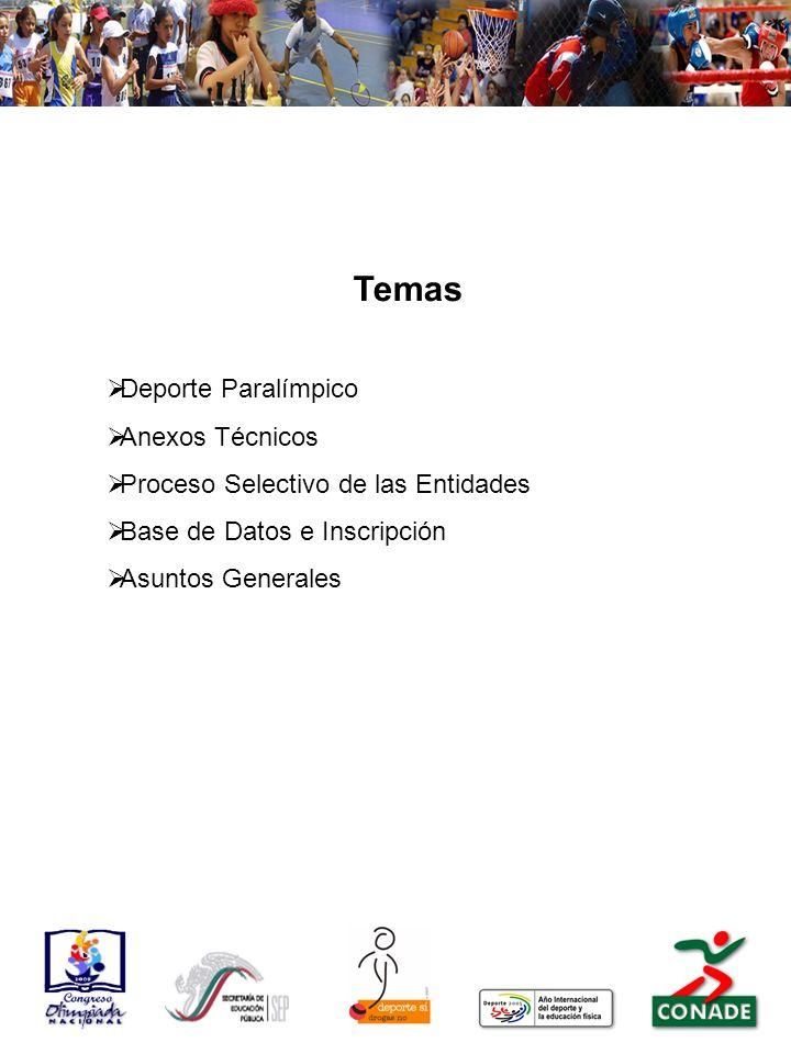 Temas Deporte Paralímpico Anexos Técnicos Proceso Selectivo de las Entidades Base de Datos e Inscripción Asuntos Generales