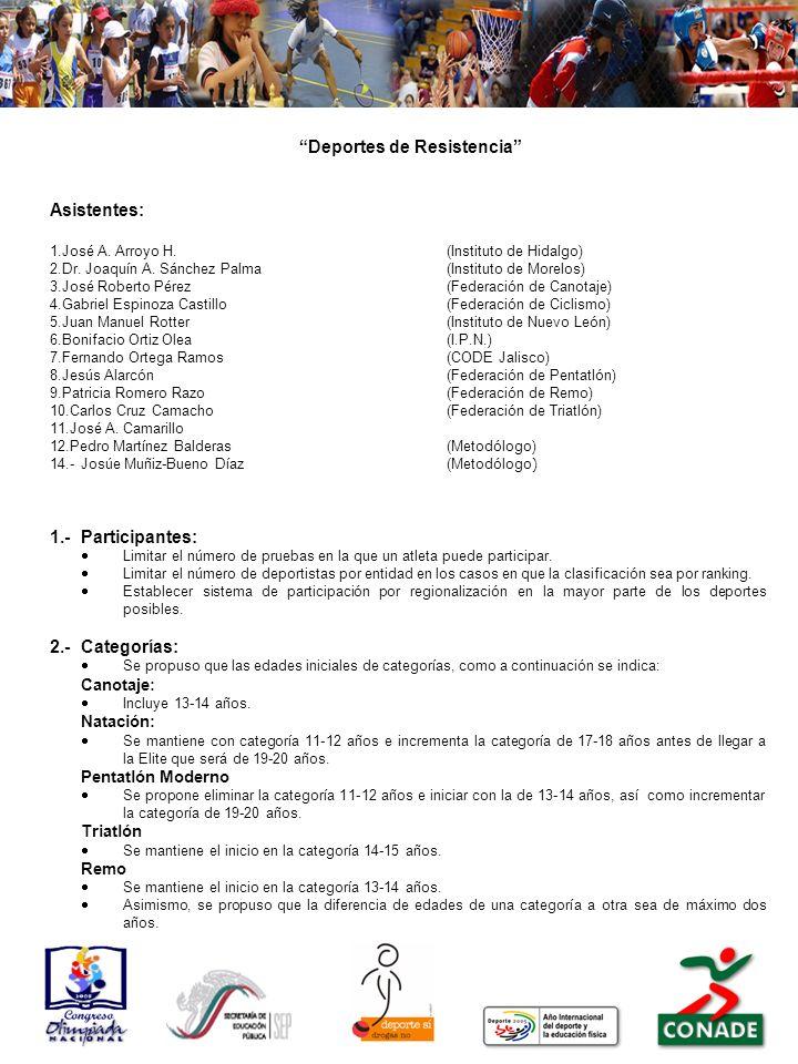 Deportes de Resistencia Asistentes: 1.José A. Arroyo H.(Instituto de Hidalgo) 2.Dr. Joaquín A. Sánchez Palma(Instituto de Morelos) 3.José Roberto Pére