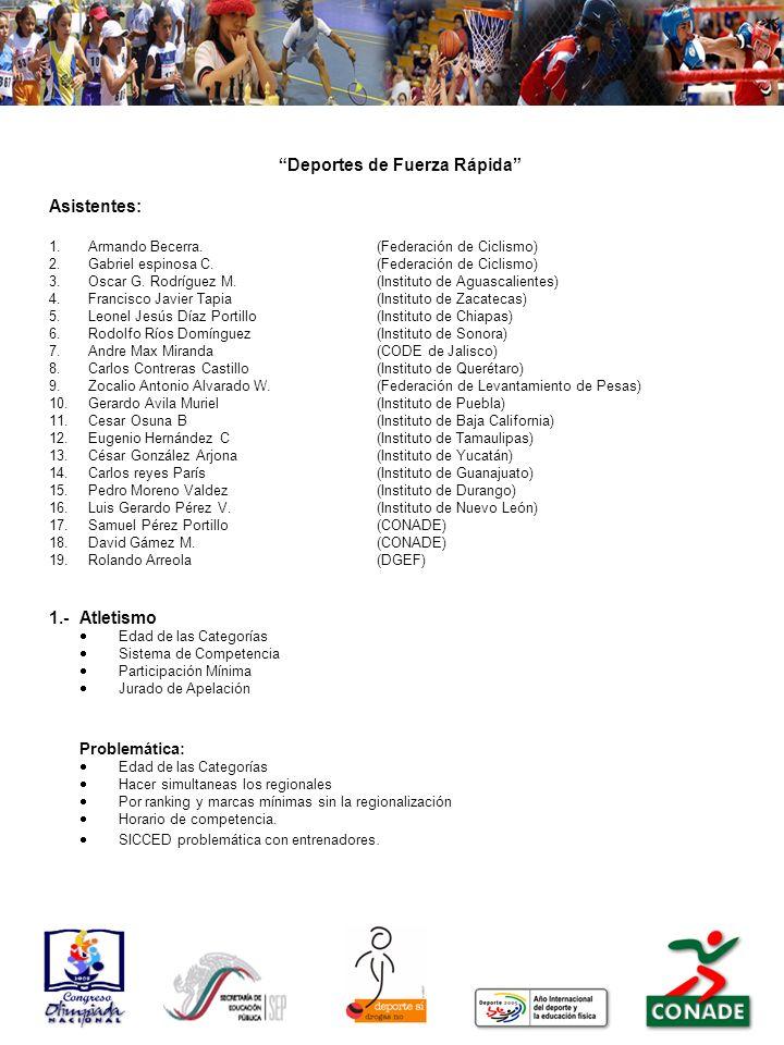 Deportes de Fuerza Rápida Asistentes: 1.Armando Becerra.(Federación de Ciclismo) 2.Gabriel espinosa C.(Federación de Ciclismo) 3.Oscar G. Rodríguez M.
