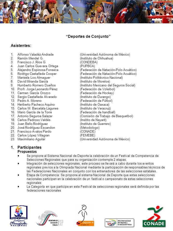 Deportes de Conjunto Asistentes: 1.Alfonso Valadéz Andrade(Universidad Autónoma de México) 2.Ramón Mendel G.(Instituto de Chihuahua) 3.Francisco J.