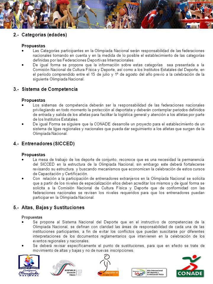 2.-Categorías (edades) Propuestas Las Categorías participantes en la Olimpiada Nacional serán responsabilidad de las federaciones nacionales tomando en cuenta y en la medida de lo posible el establecimiento de las categorías definidas por las Federaciones Deportivas Internacionales.