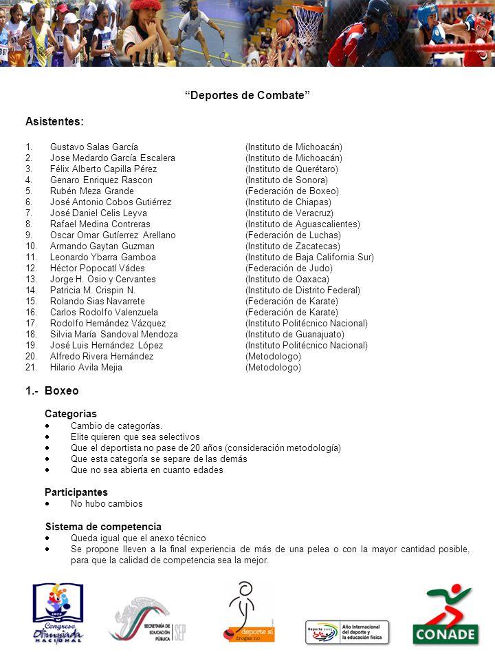 Deportes de Combate Asistentes: 1.Gustavo Salas García(Instituto de Michoacán) 2.Jose Medardo García Escalera(Instituto de Michoacán) 3.Félix Alberto