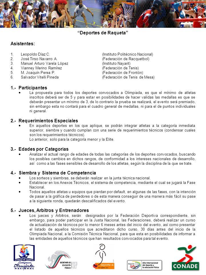 Deportes de Raqueta Asistentes: 1.Leopoldo Díaz C.(Instituto Politécnico Nacional) 2.José Tirso Navarro A.(Federación de Racquetbol) 3.Manuel Arturo V