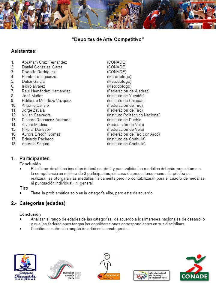 Deportes de Arte Competitivo Asistentes: 1.Abraham Cruz Fernández(CONADE) 2.Daniel González Garza(CONADE) 3.Rodolfo Rodríguez(CONADE) 4.Humberto Ingua