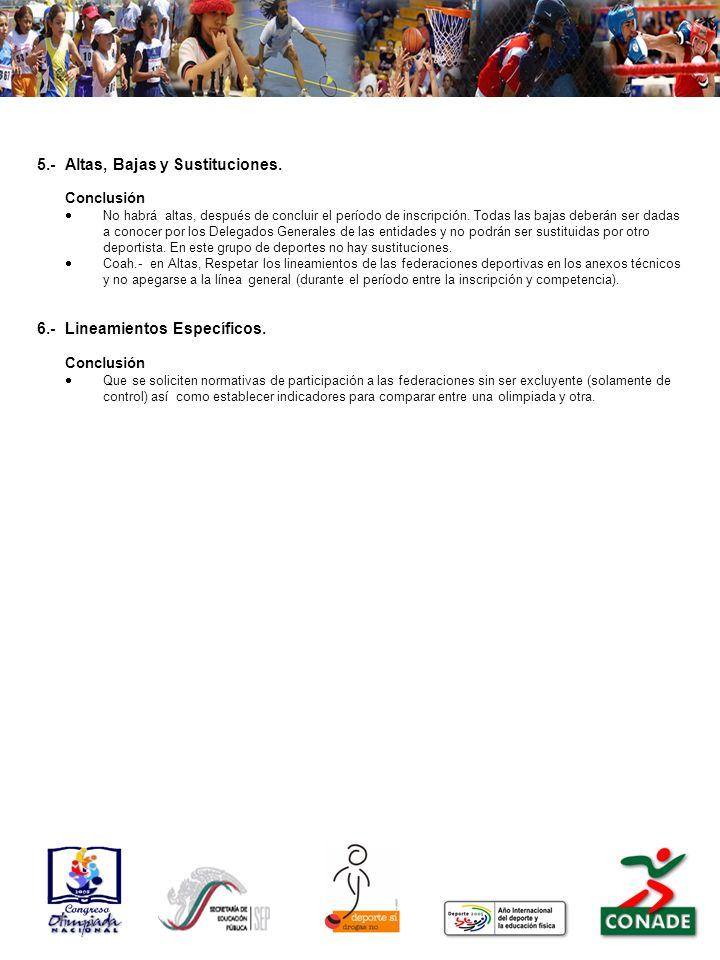 5.-Altas, Bajas y Sustituciones. Conclusión No habrá altas, después de concluir el período de inscripción. Todas las bajas deberán ser dadas a conocer