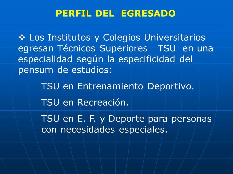 PERFIL DEL EGRESADO Los Institutos y Colegios Universitarios egresan Técnicos Superiores TSU en una especialidad según la especificidad del pensum de
