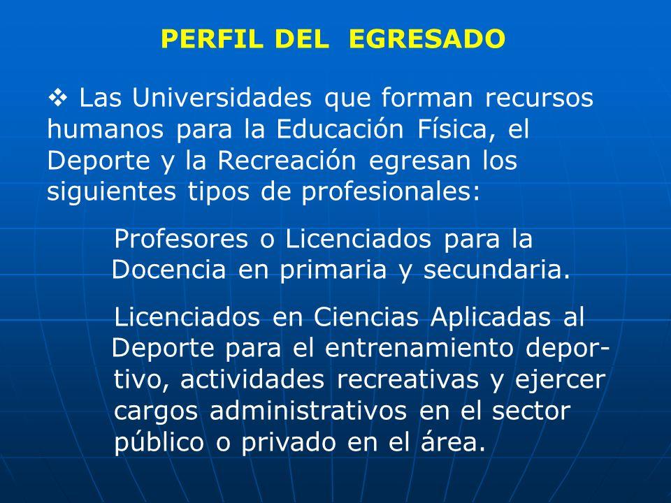 PERFIL DEL EGRESADO Las Universidades que forman recursos humanos para la Educación Física, el Deporte y la Recreación egresan los siguientes tipos de