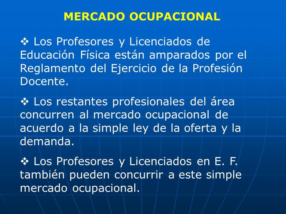MERCADO OCUPACIONAL Los Profesores y Licenciados de Educación Física están amparados por el Reglamento del Ejercicio de la Profesión Docente. Los rest