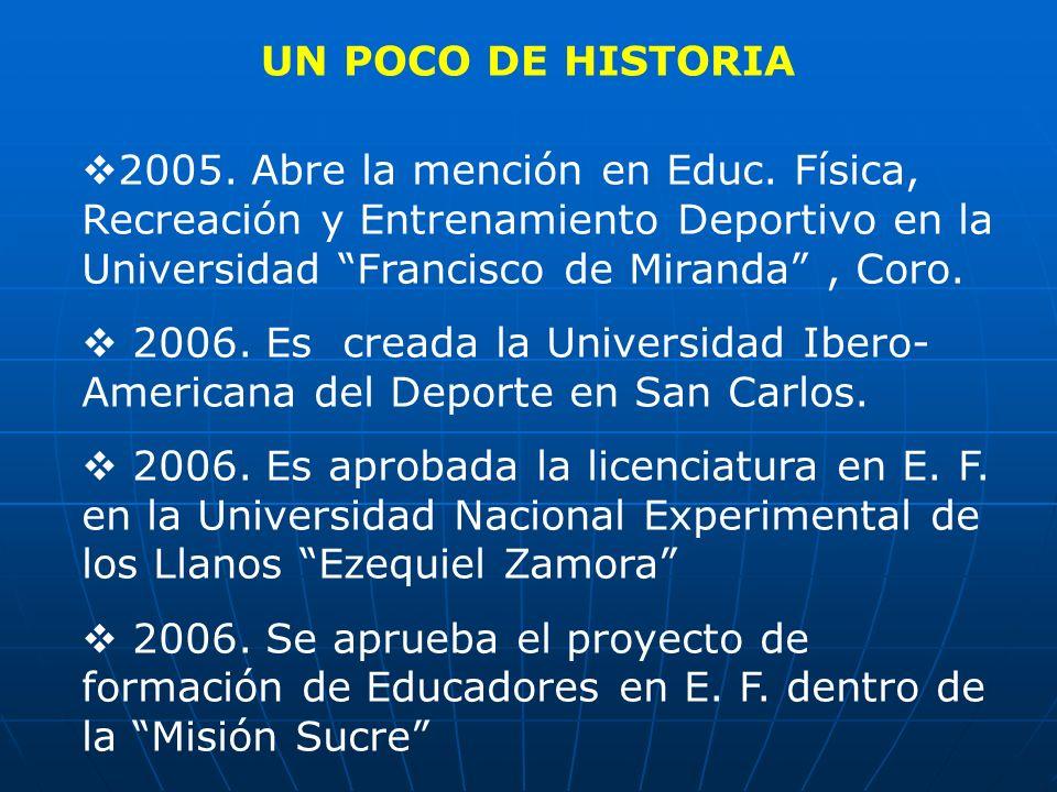UN POCO DE HISTORIA 2005. Abre la mención en Educ. Física, Recreación y Entrenamiento Deportivo en la Universidad Francisco de Miranda, Coro. 2006. Es