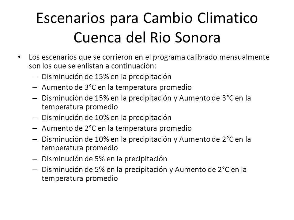 Escenarios para Cambio Climatico Cuenca del Rio Sonora Los escenarios que se corrieron en el programa calibrado mensualmente son los que se enlistan a