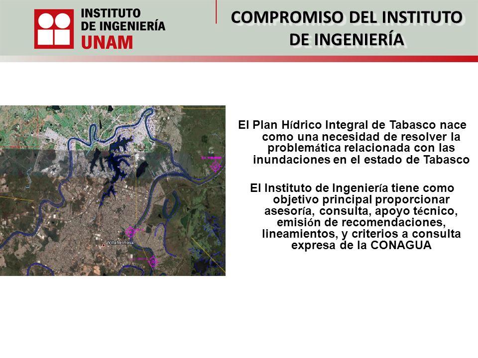 COMPROMISO DEL INSTITUTO DE INGENIERÍA El Plan H í drico Integral de Tabasco nace como una necesidad de resolver la problem á tica relacionada con las