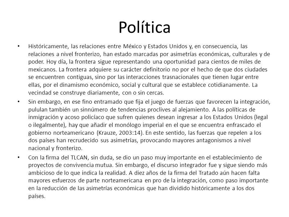 Política Históricamente, las relaciones entre México y Estados Unidos y, en consecuencia, las relaciones a nivel fronterizo, han estado marcadas por a